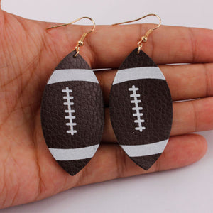Football Faux Leather Earrings