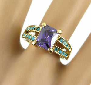 Betsey Johnson Purple and Turquoise Stone Ring - Size 8