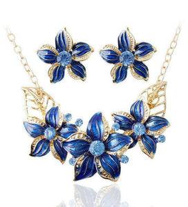 Blue & Gold Floral Necklace & Earring Set