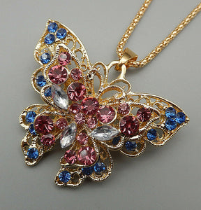 Betsey Johnson Butterfly Necklace/Brooch with Pink, Blue and White Crystals