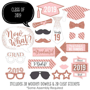 Photo Booth Props - Graduation Theme - Rose Gold - Class of 2019