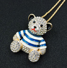 Betsey Johnson Bear Necklace with Blue and White Striped Shirt