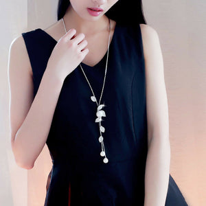 Long Pearl & Leaf Necklace