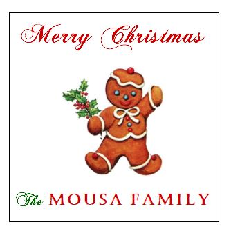 Enclosure Cards/Gift Tags/Stickers - Gingerbread Man with Family Name (set of 24)