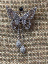 Butterfly with Tasels - White Gold Filled CZ Brooch