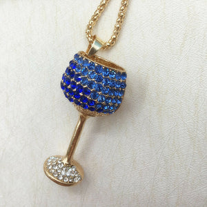 Betsey Johnson Wine Glass Necklace - Blue/White