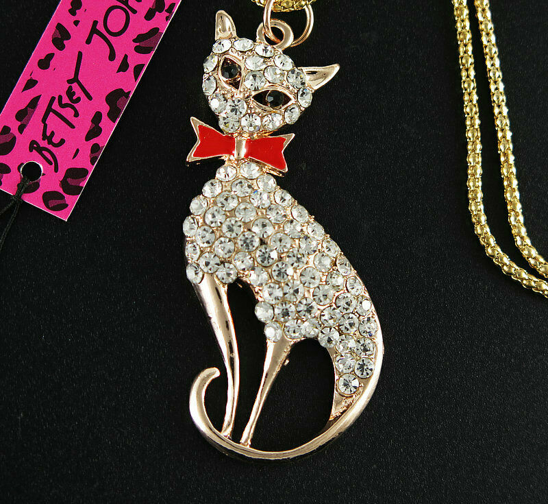 Betsey Johnson Rhinestone Cat with Red Bow Necklace