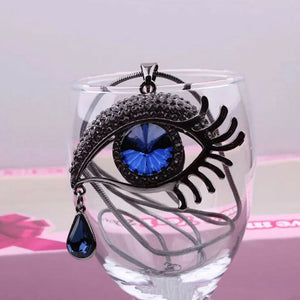 Evil Eye Teardrop Necklace - Silvertone