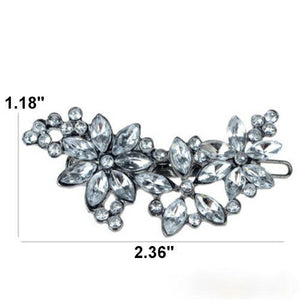 Crystal Curved Floral Barrette