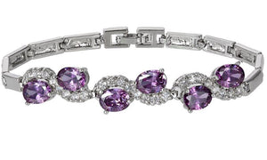 Amethyst and White Topaz (Simulated) Bracelet