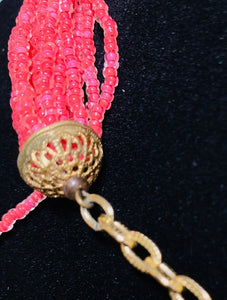 Vintage Coral Seed Bead Multi-Strand Necklace