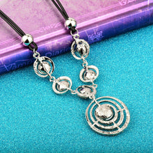 Smoky Rhinestone Round Pendant Necklace
