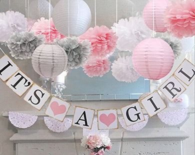 Baby Girl Shower Decorations - Pom Poms - Lanterns and more
