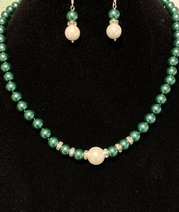Green Pearl Necklace and Earrings Set