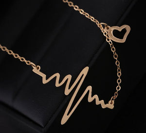 Heartbeat - EKG Necklace - Choice of Gold or Silver color