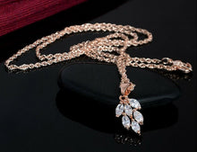 18k Rose Gold Plated Crystal Leaf Set