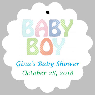 Baby Shower Tag - Baby Boy or Baby Girl - Polka Dots (set of 30)