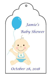 Favor Tag - Baby Shower - Girl or Boy with Balloon (set of 24)