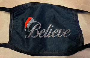 """Believe"" Christmas Mask with Santa Hat"