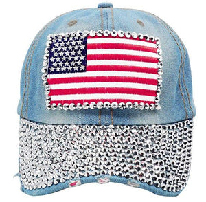 American Flag, Studded Baseball Cap - Denim