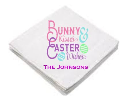Washcloth - Bunny Kisses & Easter Wishes - Blue or Pink