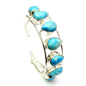 Larimar Bangle with Teardrop Stones
