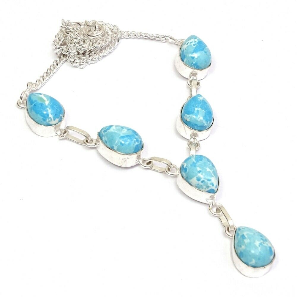 Larimar Drop Necklace - Teardrop Stones