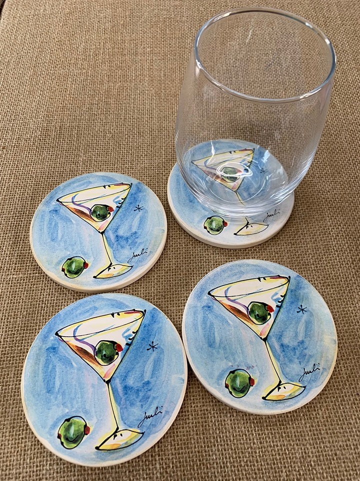 Martini Glass Stone Coasters (set of 4)