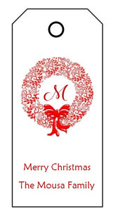 Enclosure Cards/Gift Tags - Merry Christmas & Wreath with Initial (set of 24)