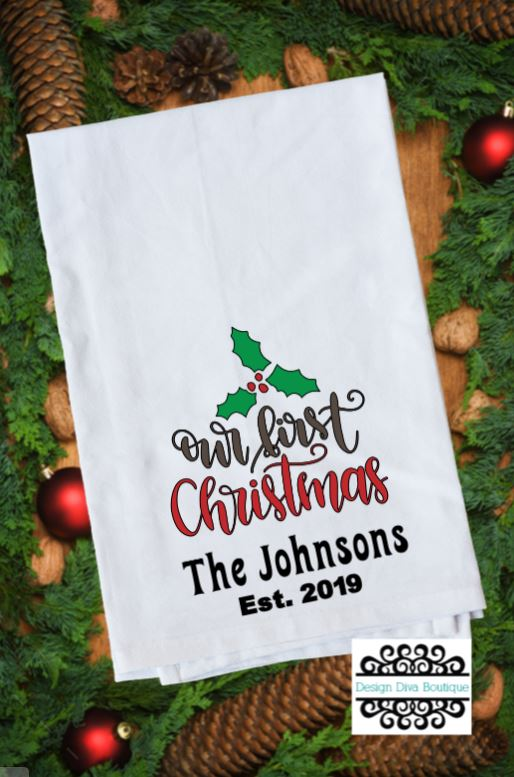 Flour Sack Towel - Our First Christmas