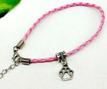 Paw Print Leather Rope Bracelet