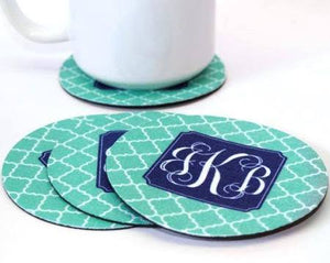 Round Coasters - Set of 4 (Cloth top, rubber bottom)