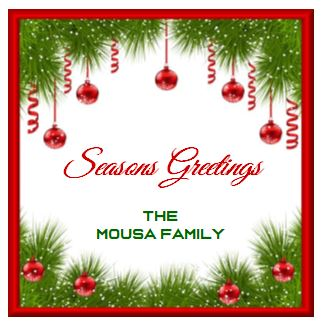 Enclosure Cards/Gift Tags/Stickers - Seasons Greetings & Ornaments with Family Name (set of 24)