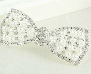 Crystal & Pearl Bow Barrette - Silver or Gold Tone