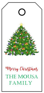 Enclosure Cards/Gift Tags - Merry Christmas with Tree & Family Name (set of 24)