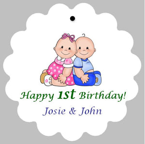 Favor Tags - Twins' 1st Birthday (set of 24)