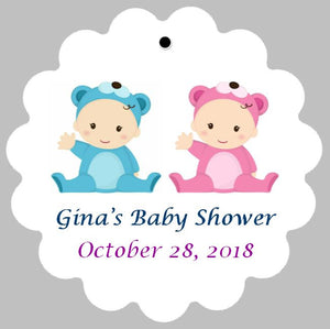 Baby Shower Tags for Twins - Choose Genders (set of 24)