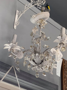 LSI - White Daisy & Crystal Chandelier