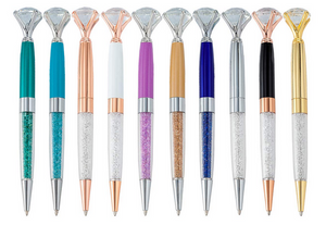 Diamond Topped, Crystal Filled Bling Pens