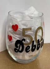 Birthday Wine Glass - Name, Age, Hearts