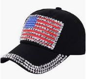 American Flag, Studded Baseball Cap - Black