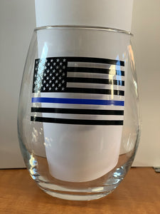 Blue Lives Matter Wine Glass