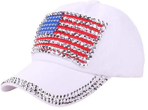 American Flag, Studded Baseball Cap - White