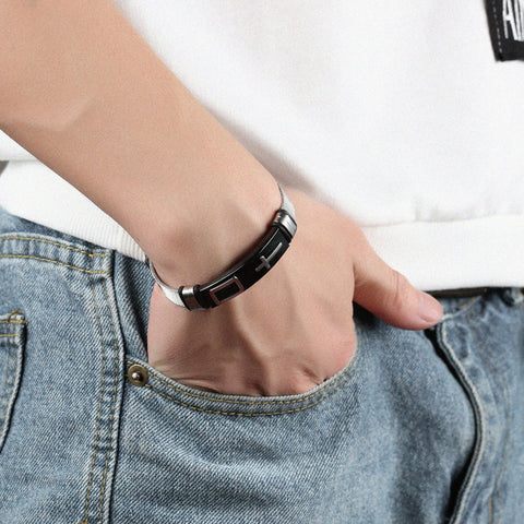 Men's Cross Wristband Bracelet (Free Shipping Worldwide)