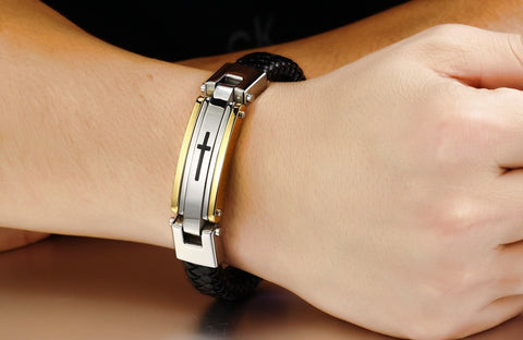 Stainless Steel Leather Cross Bracelet - Limited Edition (Free Shipping Worldwide)