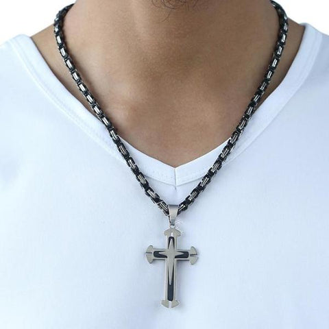 Cross Pendant Men's Necklace - Stainless Steel (Free Shipping Worldwide)