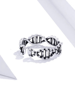 BAMOER Original Design 925 Sterling Silver Adjustable DNA Theme Ring - Ladies / Women's