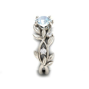 LNRRABC Elegant Vines & Leaves Theme Blue Rhinestone Ring - Ladies / Women's