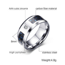 VNOX Fashionable Stainless Steel & Carbon Fiber Ring - Men's / Gents, Cubic Zirconia