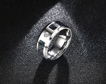 VNOX Fashionable Stainless Steel Men's / Gents Ring with Carbon Fibre & Cubic Zircona